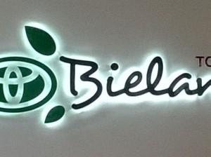 logo przestrzenne podświetlone diodami